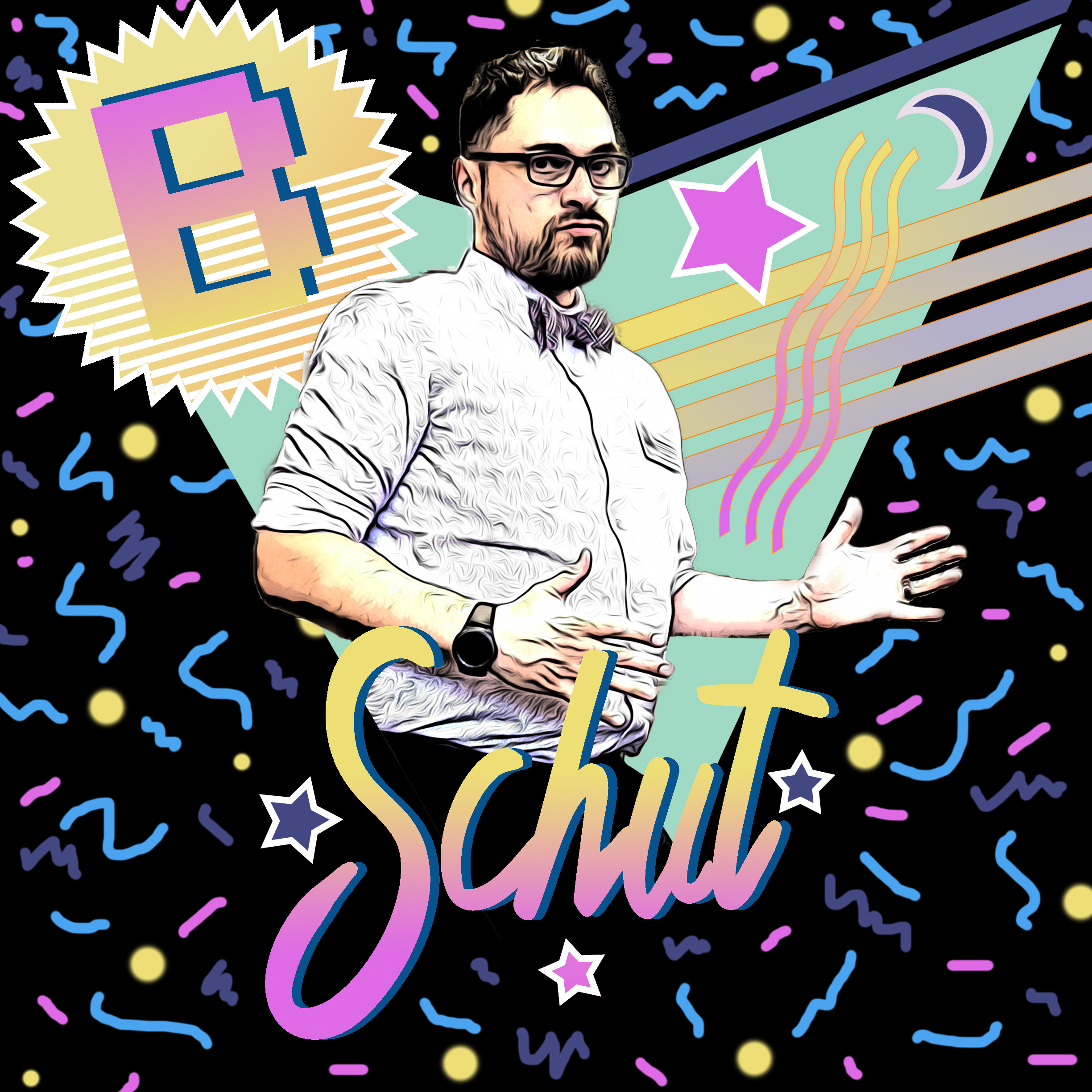 head shot of the amazing Brandon Matthew Schut III Esquire DDS MD PhD, posing with an 80s style background, confetti and neon colors
