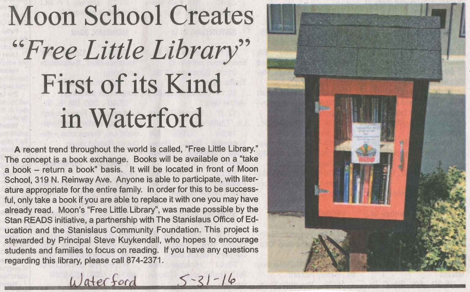 Article about Moon Elementary Little Free Library