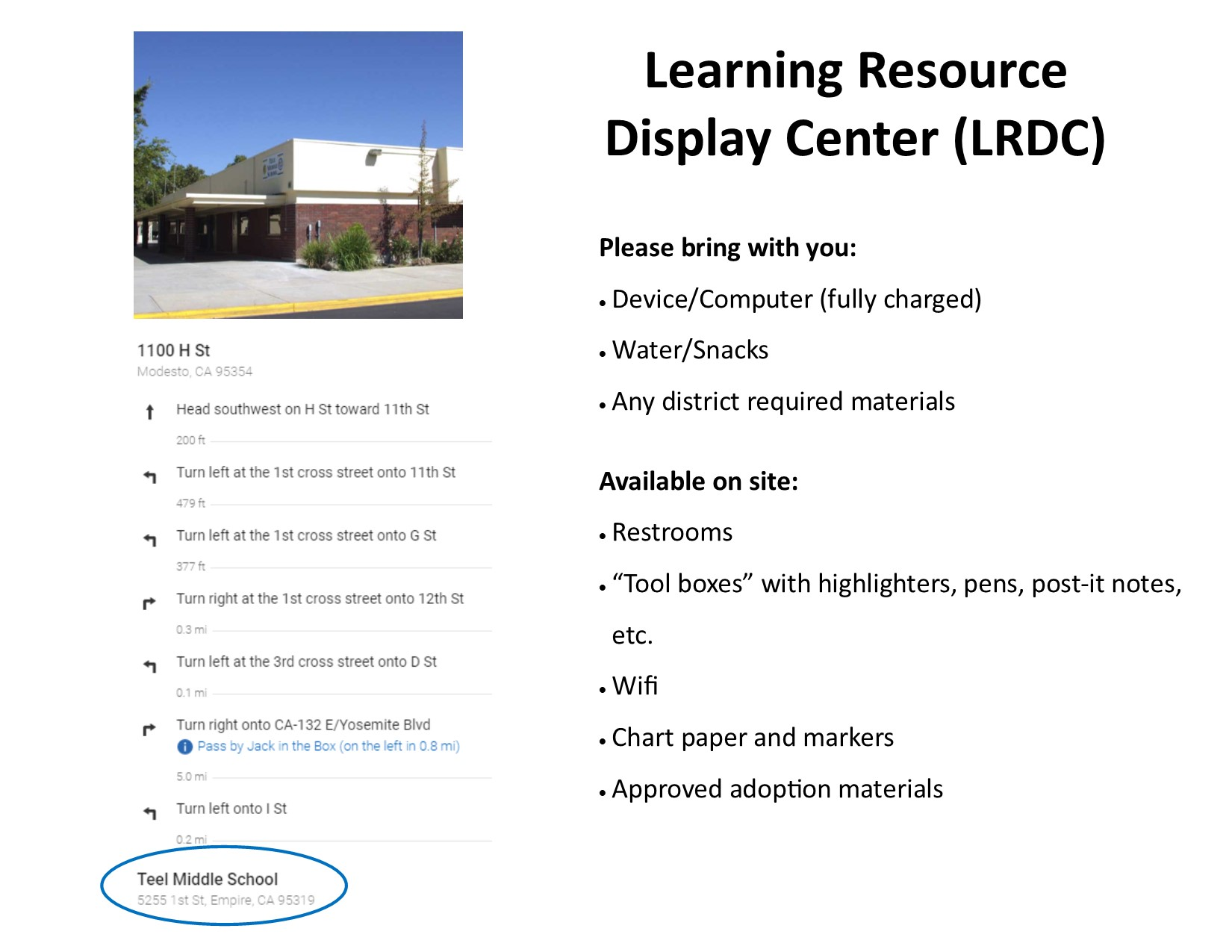 Learning Resources Display Center Location & Amenities