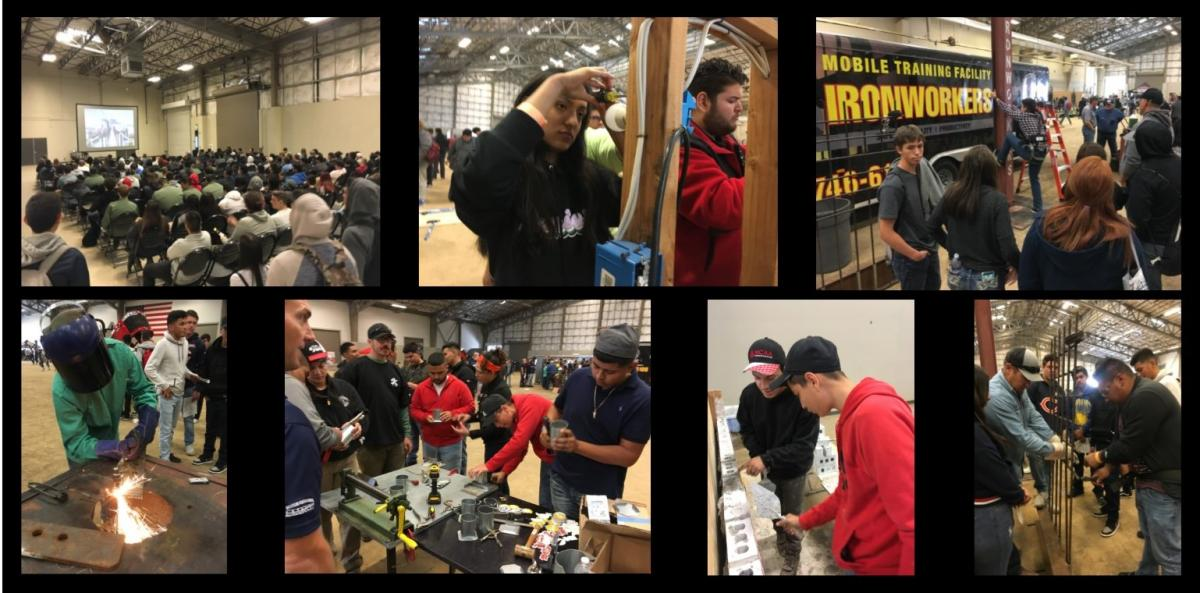 Collage of students experiencing various hands on trades careers