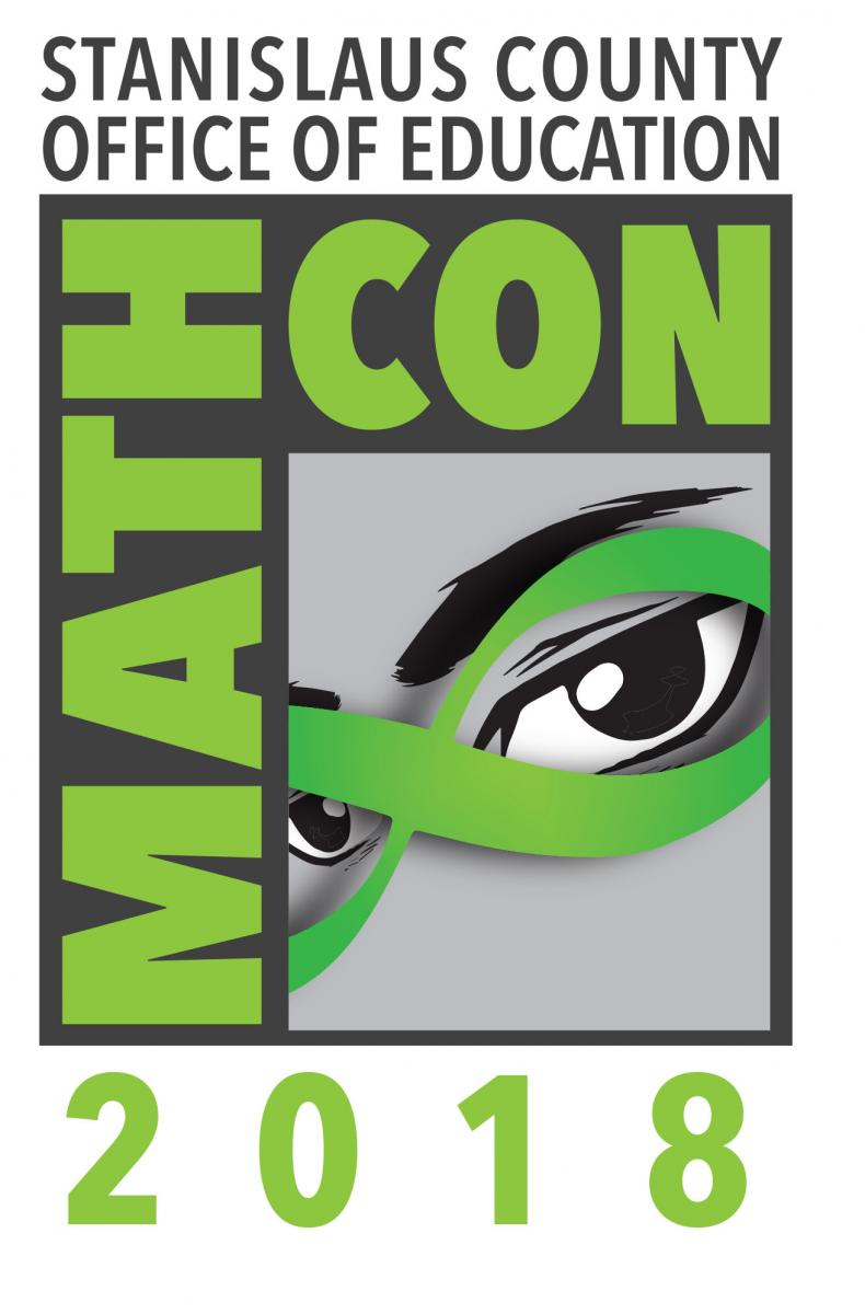 Math Con logo showing a face with the words math con 2018