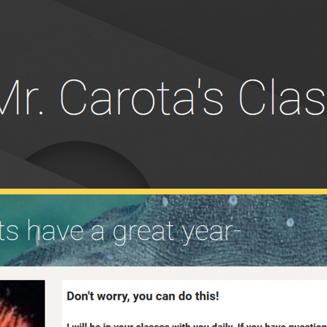 "screenshot of Neil Carota's website, showing the words ""Mr. Carota's Class"""