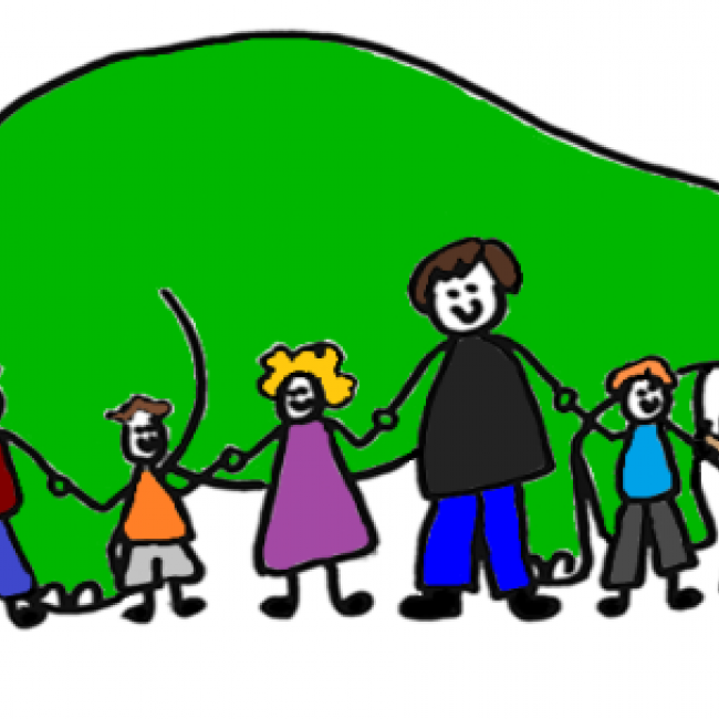 an illustration of a green brontosaurus with children of various shapes and colors standing
