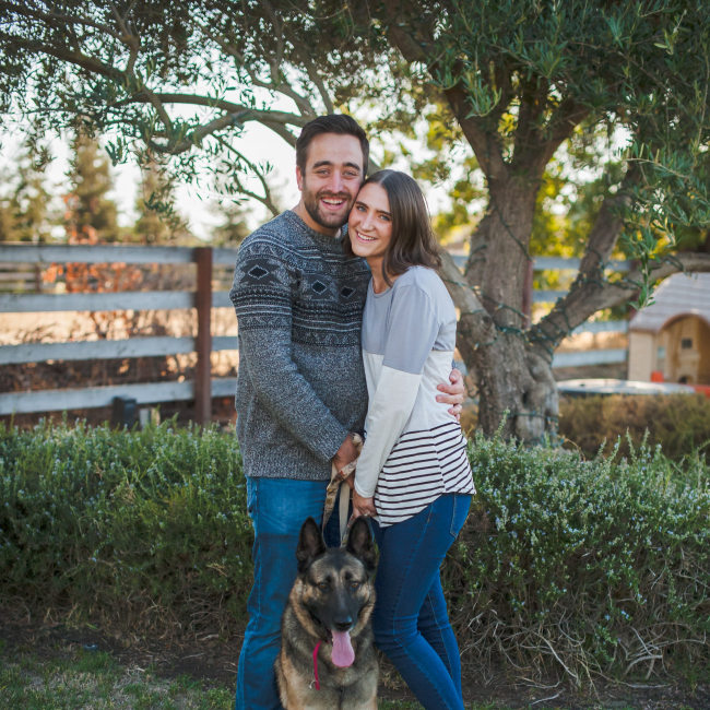 photos of Laura Stetson, her husband, and their dog