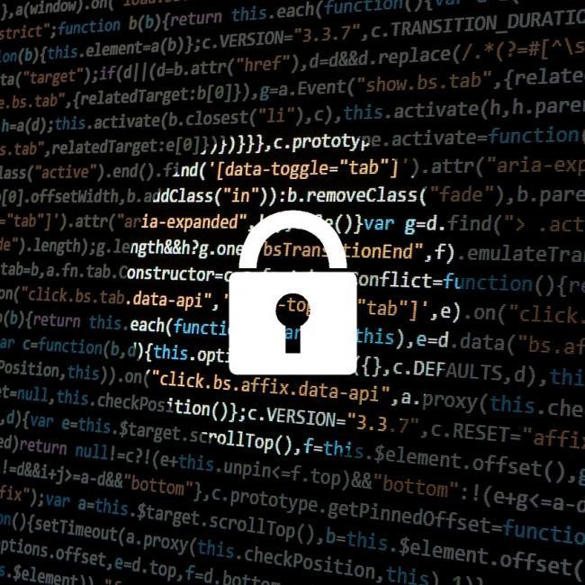hacker icon - lock over html code
