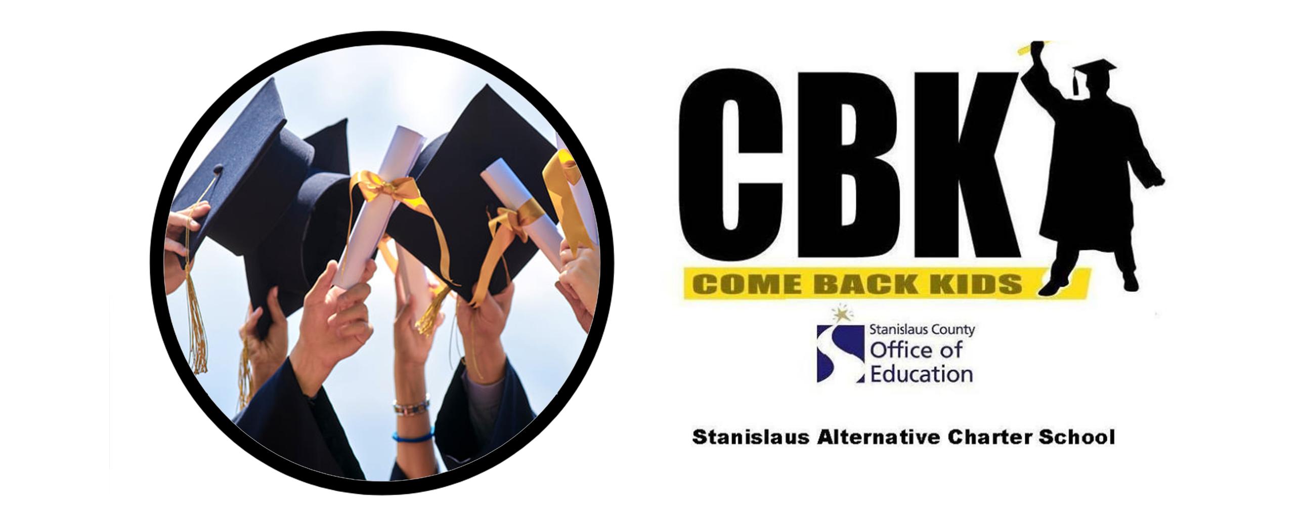 cbk logo with graduation caps and diplomas