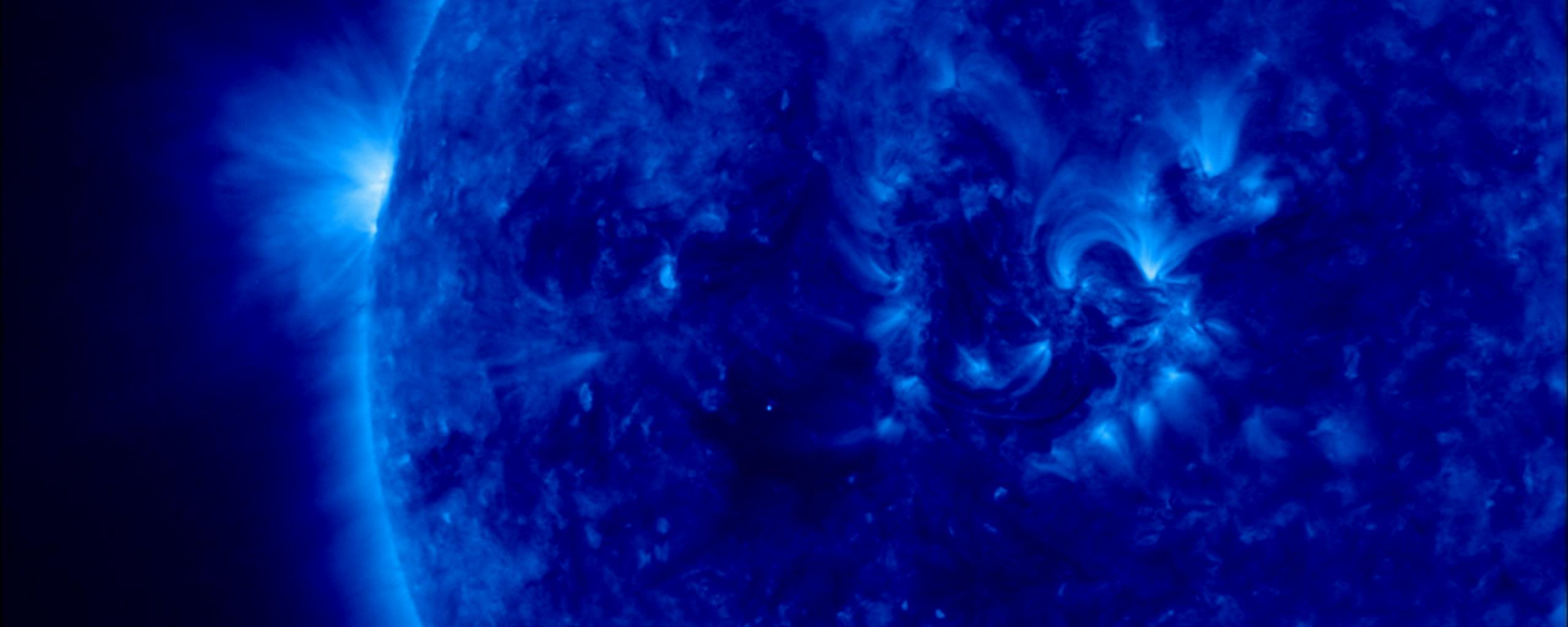 blue star, showing a solar flare