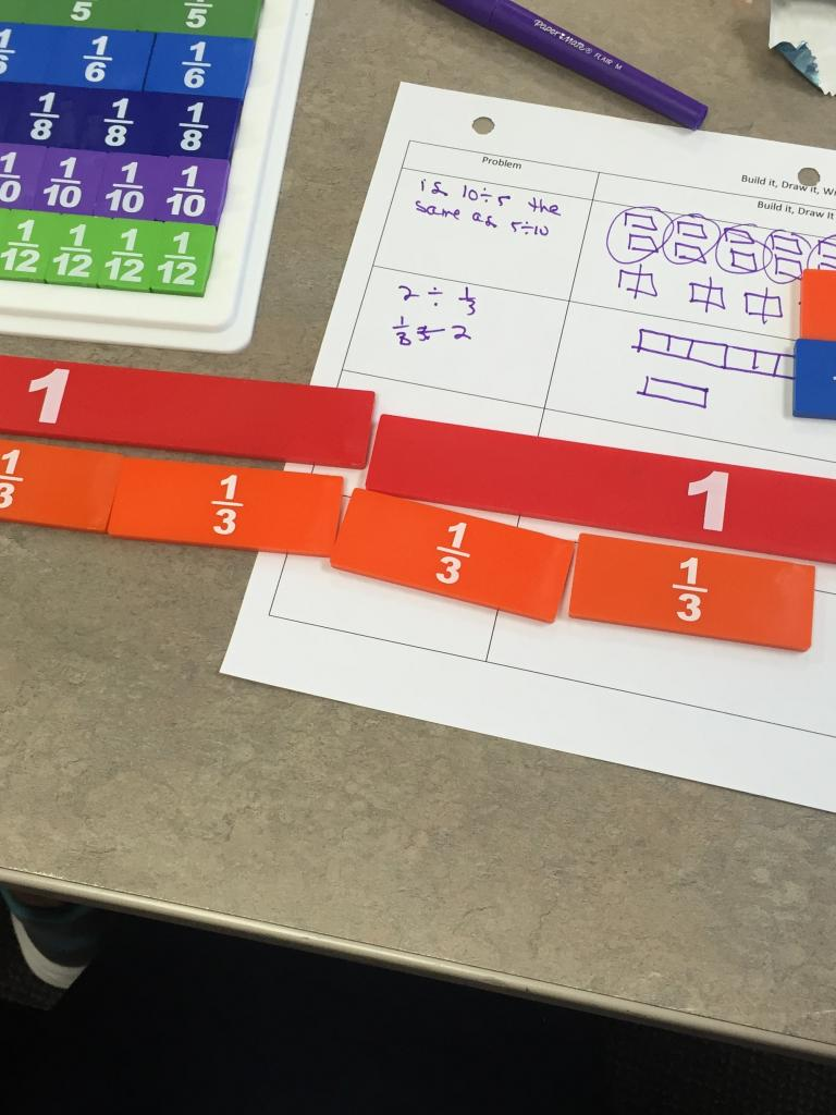 Fraction tiles in red and orange