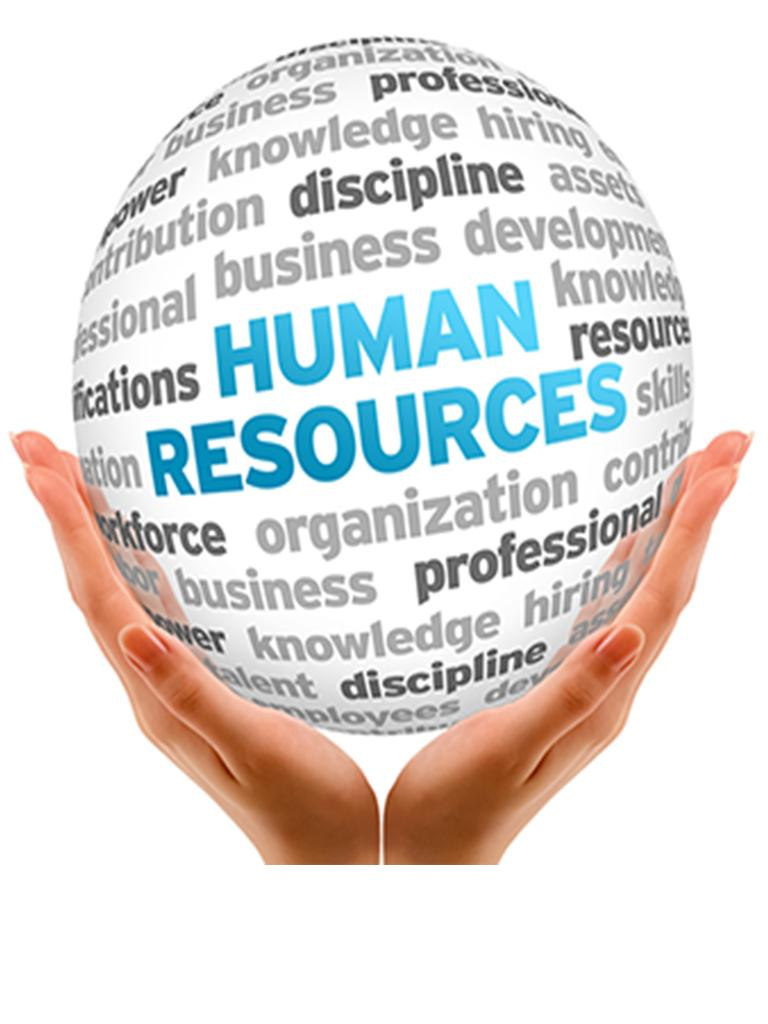 a pair of hands holding a ball of words that list Human Resources themes