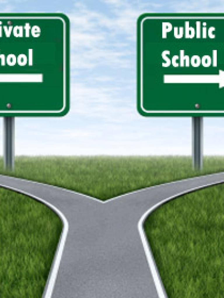 private school and public school sign