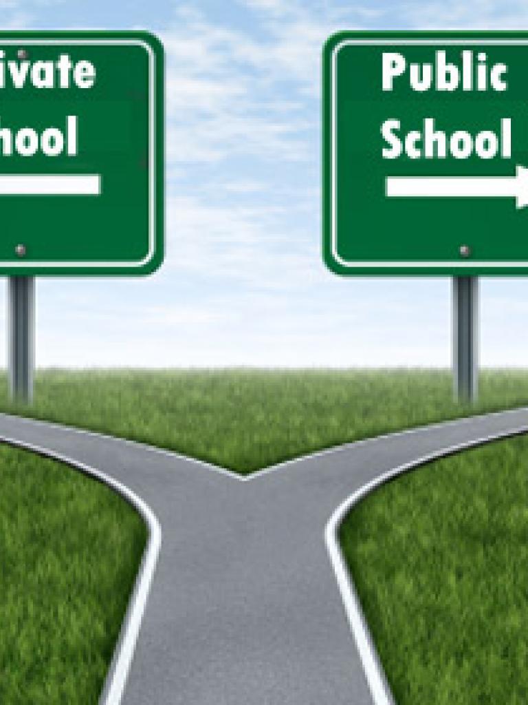 private school and public school sign