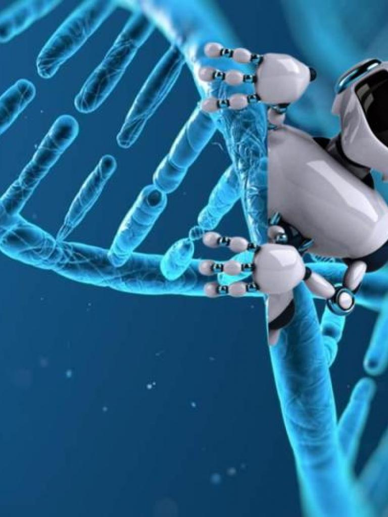 Robot on top of a DNA Strand with an earth and gear in the background
