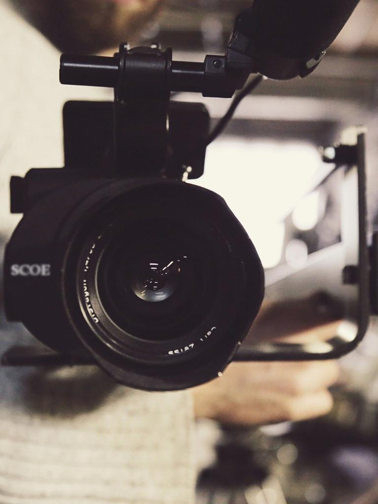 close up of a video camera lens