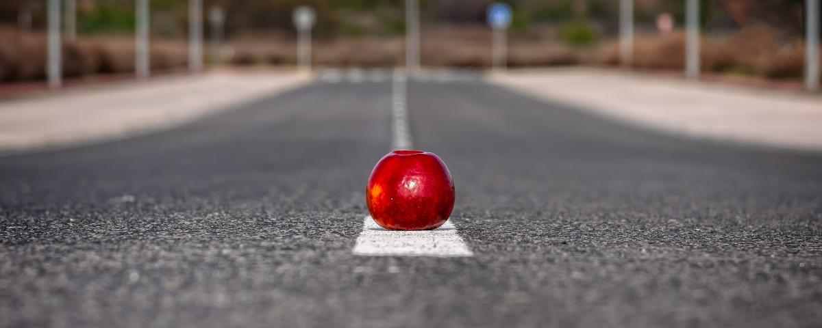 an apple sitting in the middle of a country road