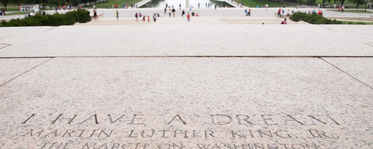 "Image of the floor of the Lincoln Memorial engraved with ""Martin Luther King Jr"""