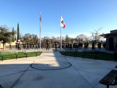 Students formed up at for morning physical training
