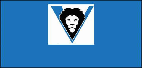 Valley Charter Logo of a lion in the middle of a V, on a blank blue screen