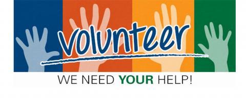 """image of hands being raised behind the words """"Volunteer: We need your help!"""""""
