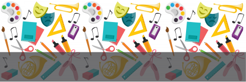 A banner showing dance shoes, painting palette, music notes, a french horn, paintbrushes, and books
