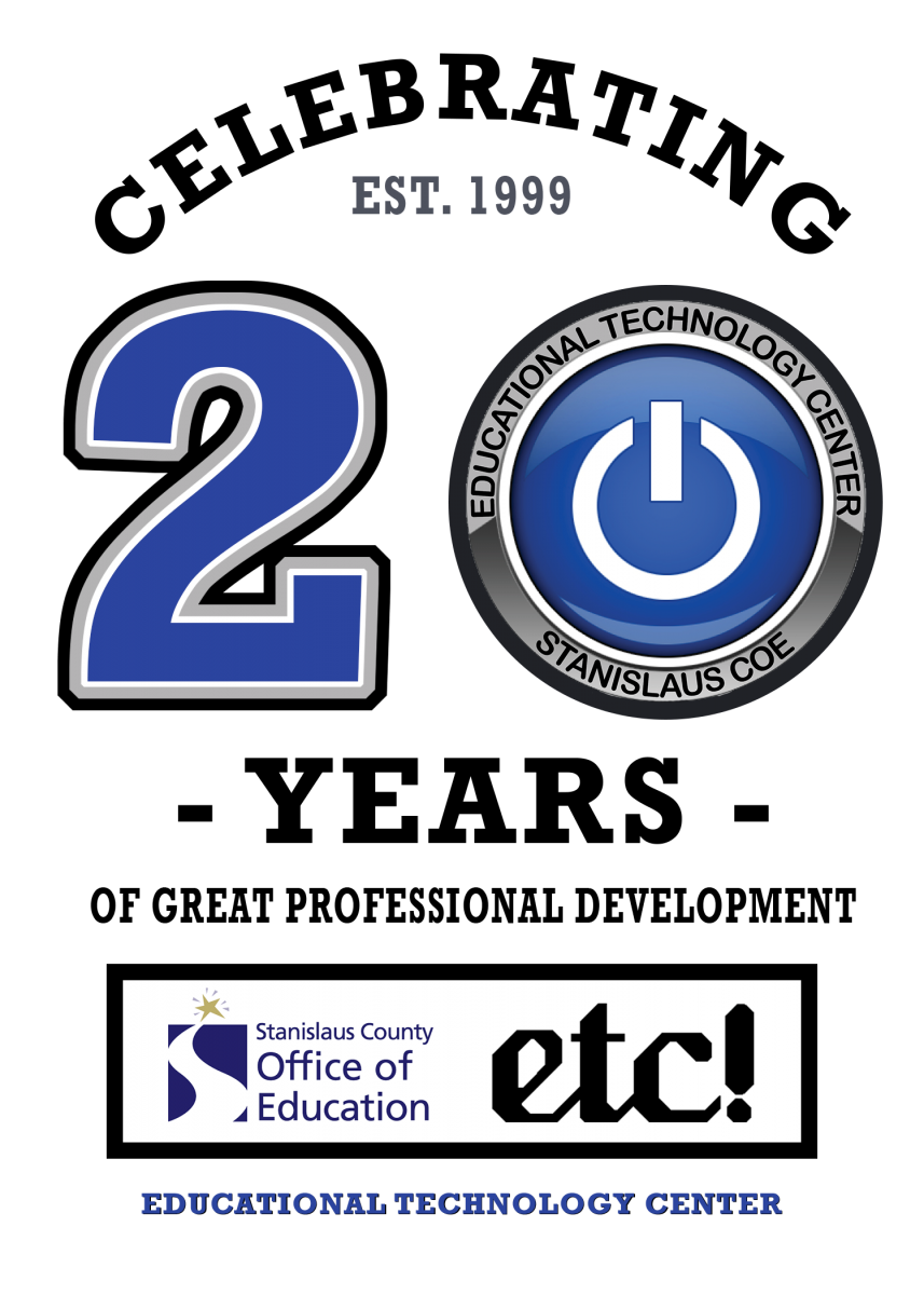 ETC 20 year anniversary logo, including the power button etc logo and the number twenty