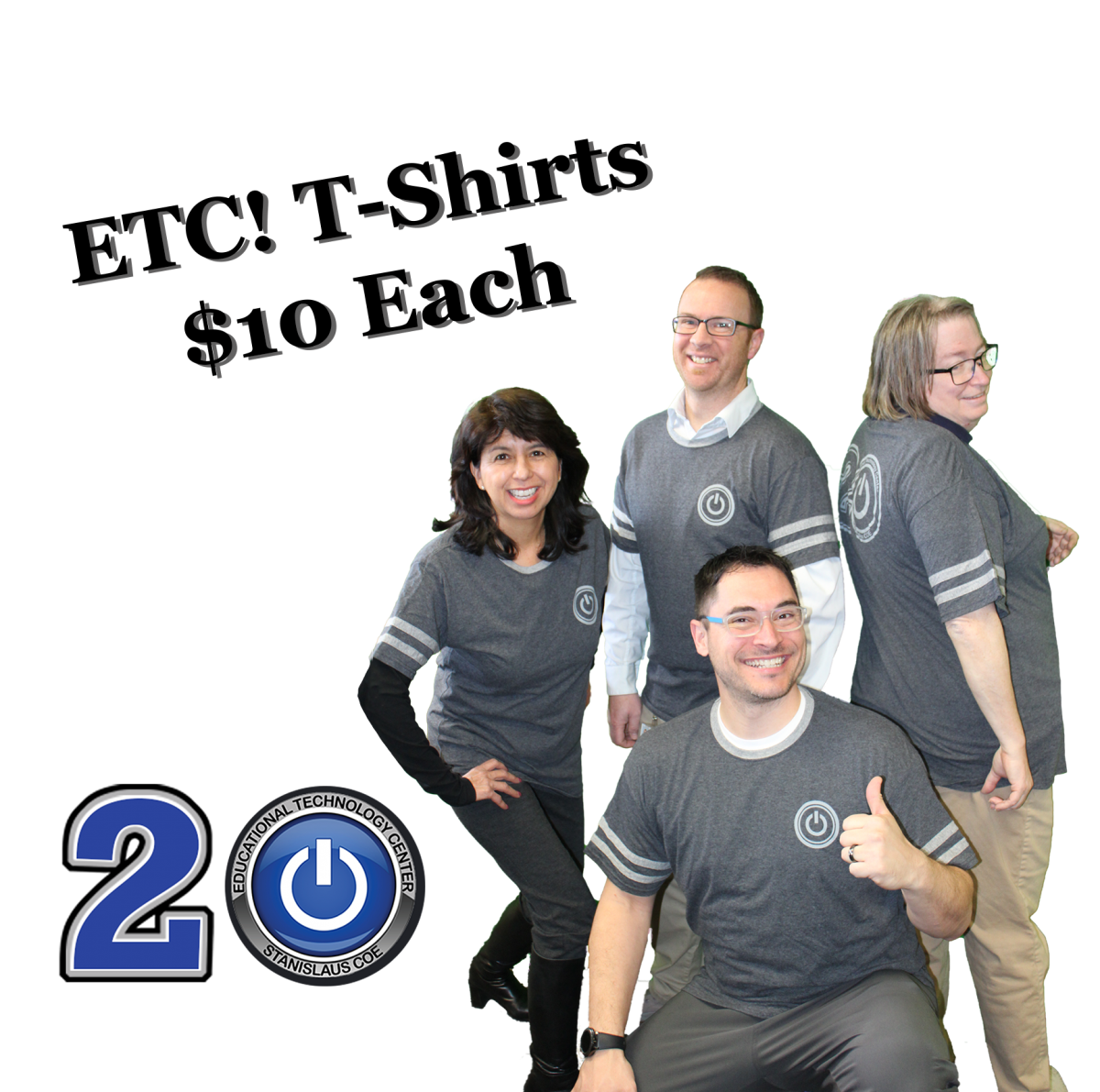 Sally, Gregg, Deb, and Brandon modelling ETC gray t-shirts for $10